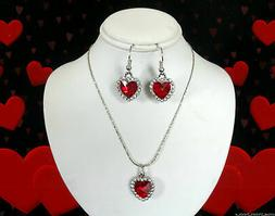 VALENTINES DAY GIFT SET FOR HER~STERLING SILVER PLATED HEART