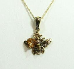 November Birthstone, Bee, Topaz Heart Crystal, Necklace, Bir