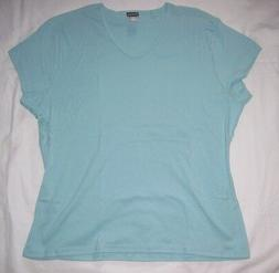 NWOT Hanes silver for her cotton tee classic fit Aqua Size M