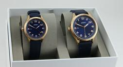 NWT Fossil Couple Watch His & Her Navy Blue Leather WYLIE BQ