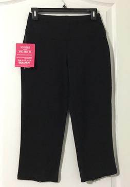 NWT The Skinny Capri Teez-Her Slimming Yoga Athletic Black P