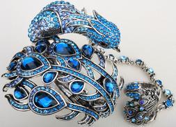 Peacock bangle bracelet slave ring sets women bling jewelry