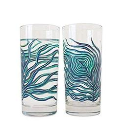 Peacock Feather Glassware - Set of 2 Highball Glasses, Gift