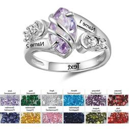 Personalized Birthstone Ring Custom Anniversary Gift for Her
