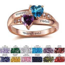 Personalized Custom Name Birthstone Ring Mother's Day Gift P