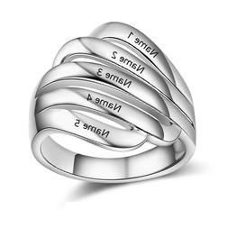 Personalized Mother's Rings Family Name Ring Anniversary Eng