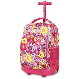 J World® Poppy Pansy Sunny Rolling Backpack