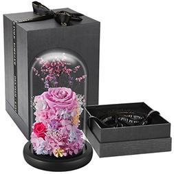 "DeFaith 9"" x 6"" Preserved Real Fresh Rose in Glass Dome, Spe"