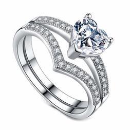 VIKI LYNN Promise Rings for Her 1ct Heart Cubic Zirconia 925