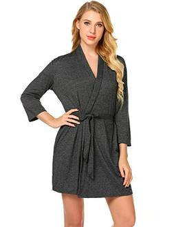 Avidlove Pure Color Satin Short Silky Bathrobe Sleepwear Nig