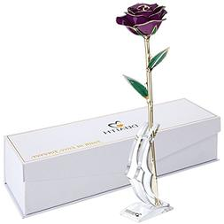 DEFAITH Purple 24K Gold Rose, Unique Anniversary Gifts for M