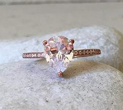 Rose Gold Cubic Zirconia Teardrop Promise Ring