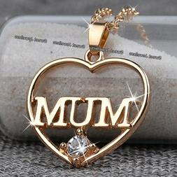 Rose Gold Mum Heart Crystal Necklace Xmas Birthday Gift For