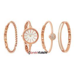 Anne Klein® Rose Goldtone Bangle Watch Set