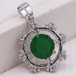 Jewelry Rudder Pendant Green Emerald 18K White Gold Plated P