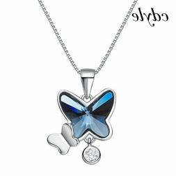 S925 Silver & Blue Crystal Butterfly Necklaces Xmas Gifts Fo