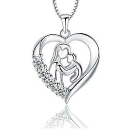 S925 Silver Mother and Child Necklace, Heart Mom & Daughter