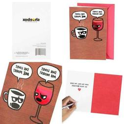 Shoebox Funny Birthday Card For Her Wine & Coffee Office Pro
