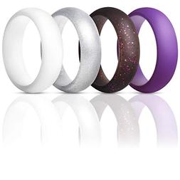 ThunderFit Silicone Rings Wedding Bands for Women 4 Pack )