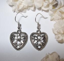 Silver Heart Earrings Jewelry Woman Girl Dangle Drop Gift Id