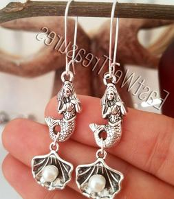 Silver Little mermaid seashells pearl drop ear wire threader