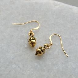 Small Acorn Earrings Drop Dangle Woodland Forest Nature Jewe