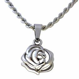Small Rose Necklace Womens Stainless Steel Flower Charm Pend