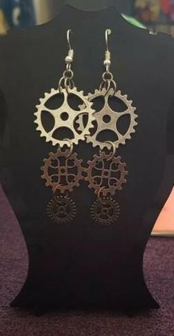 steampunk cog long drop earrings mixed metal