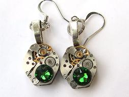 Steampunk drop/dangle earrings watch movements Emerald Swaro
