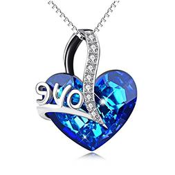 AOBOCO Sterling Silver I Love You Heart Pendant Necklaces Wo