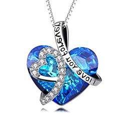 Heart Necklace 925 Sterling Silver I Love You Forever Pendan