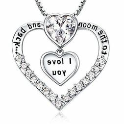 Jewelry Sterling Silver Love Heart Pendant Necklace Chain Wo
