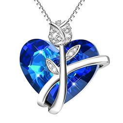 AOBOCO Sterling Silver Heart Necklaces for Women Blue Swarov