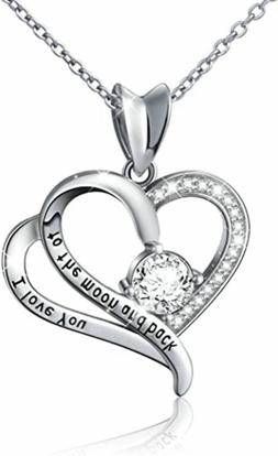 Sterling Silver Necklace Gift for Her I Love You Heart Penda
