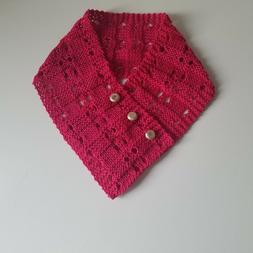Summer scarf in raspberry pink cotton, Ascot style neck warm