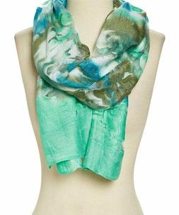 Teal Abstract Viscose Wrap Soft Scarf Fashion Accessories Fo
