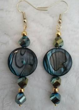 TEAL BLUE SHELL/GLASS EARRINGS hook, dangle, drop, circle PE