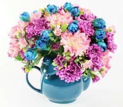 Teapot Silk Flower Arrangement, Floral Teapot Arrangement, G