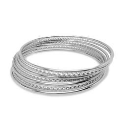 Thin Stackable Silver Bangle Bracelet Set of 7 Stainless Ste