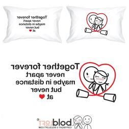 BOLDLOFT Together Forever Couple Pillowcases for Him and Her