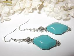 Turquoise and Silver Earrings Dangle Drop Handmade Woman Jew