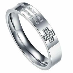 UM Jewelry Cross Promise Rings Engraved Men's Women's Stainl