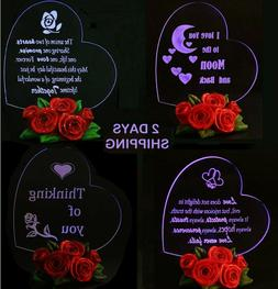 BIRTHDAY GIFT FOR HER LED Light Heart Decor Rose Base Love W