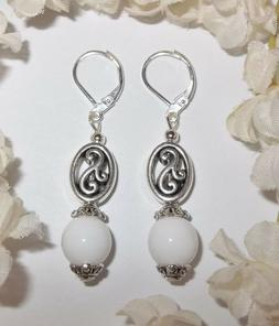 White and Silver Beaded Earring Handmade Lever Back Set Dang