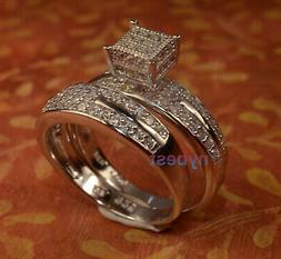 white gold finish engagement ring wedding band