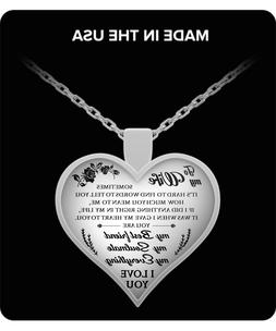 Wife necklace for Her - Husband & Wife Heart Pendant - Anniv