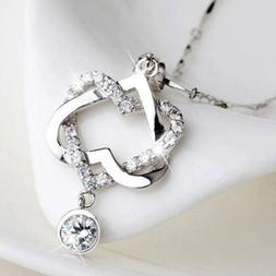 Women Fashion 925 Silver Plated Double Heart Pendant Necklac