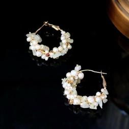 Women Gold Pearl Earrings, Freshwater Pearl, Gift for Her, E