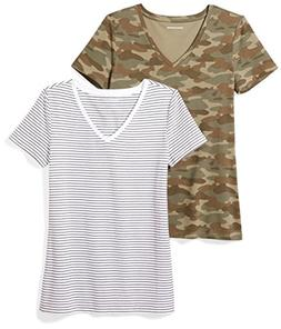Amazon Essentials Women's 2-Pack Short-Sleeve V-Neck Pattern