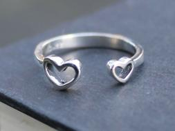 Women's Adjustable Solid 925 sterling silver double hearts r